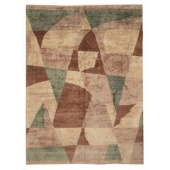 Rug & Kilim's Custom Geometric Beige-Brown and Blue Wool and Silk Rug