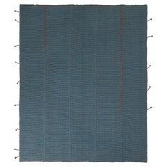 Rug & Kilim's Custom Kilim Rug in Blue Brown Solid Striped Pattern