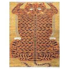 Rug & Kilim's Custom Tiger Rug in Black Orange Pictorial Pattern