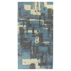 Rug & Kilim's Deco Style Modern Rug in Blue, Black Geometric Pattern