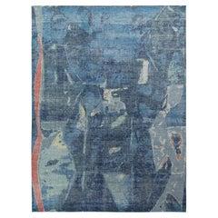 Rug & Kilim's Distressed Abstract Custom Rug in Blue Geometric pattern