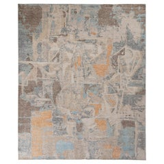 Rug & Kilim's Distressed Abstract Rug in Beige-Brown and Blue Geometric Pattern