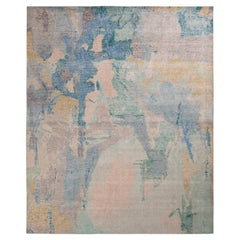Rug & Kilim's Distressed Abstract Rug in Blue-Green and Gray Geometric Pattern