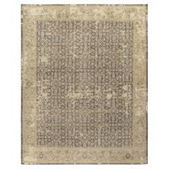 Rug & Kilim's Distressed Classic Style Custom Rug in Grey, Beige Herati Pattern