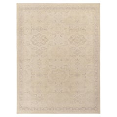 Rug & Kilim's Distressed Classic Style Rug in all over Beige Gray Geometric Patt