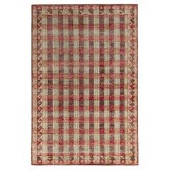 Rug & Kilim's Distressed Classic Style Rug in Beige-Brown, Red Geometric Pattern