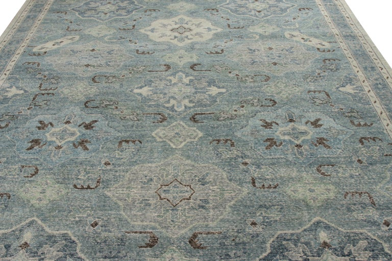 A custom rug design from the classic selections of Rug & Kilim's Homage Collection—hand knotted in wool with a shabby-chic, distressed texture. This 9x12 edition exemplifies the detail and color bank this collection enjoys, particularly in this