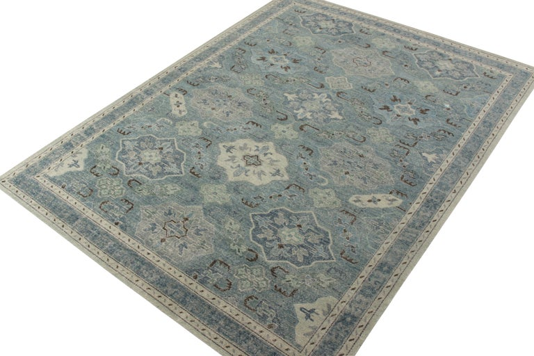 Khotan Rug & Kilim's Distressed Classic Style Rug in Blue and Gray Geometric Pattern For Sale