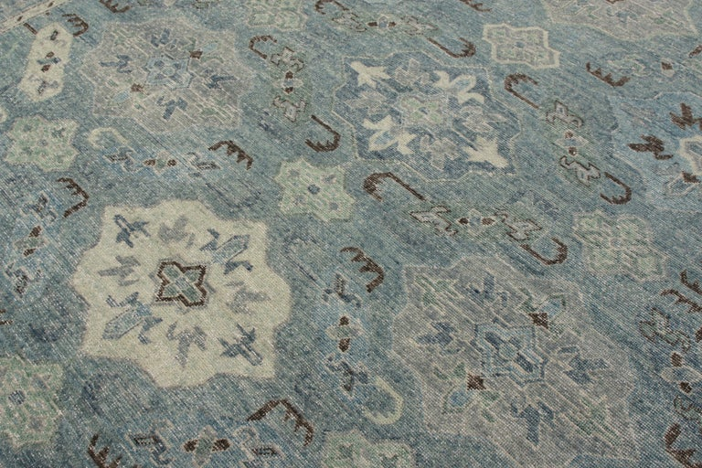 Indian Rug & Kilim's Distressed Classic Style Rug in Blue and Gray Geometric Pattern For Sale