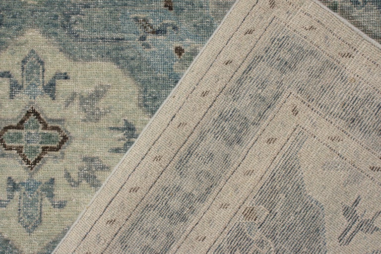 Hand-Knotted Rug & Kilim's Distressed Classic Style Rug in Blue and Gray Geometric Pattern For Sale