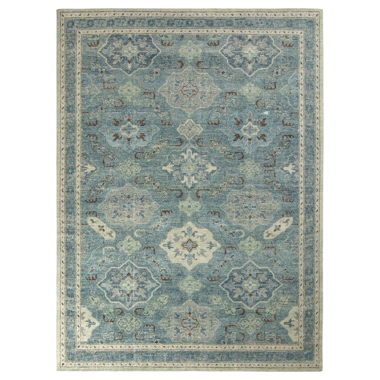 Rug & Kilim's Distressed Classic Style Rug in Blue and Gray Geometric Pattern For Sale