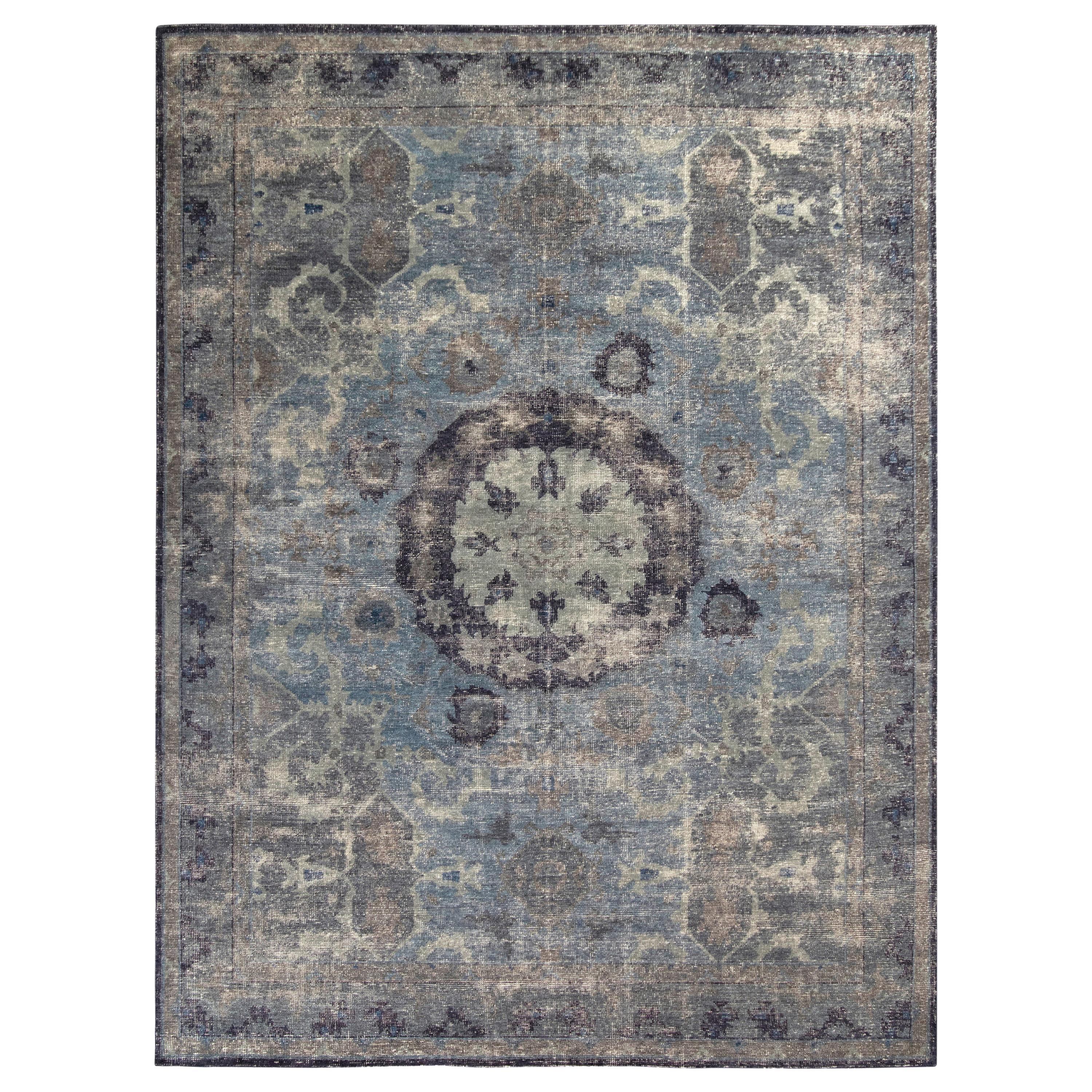 Rug & Kilim's Distressed Classic Style Rug in Blue and Gray Medallion Pattern