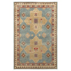 Rug & Kilim's Distressed Classic Style Rug in Blue, Beige-Green Geometric Patter