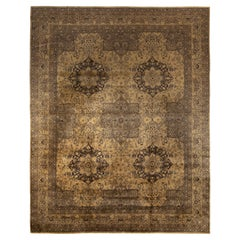 Rug & Kilim's Distressed Classic Style Rug in Gray, Beige-Brown Floral Pattern