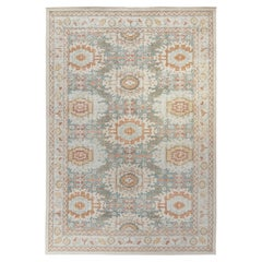 Rug & Kilim's Distressed Classic Style Rug in Gray, Blue Geometric Pattern