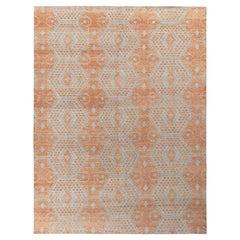 Rug & Kilim's Distressed Classic Style Rug in Orange, Blue Geometric Pattern