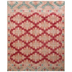 Rug & Kilim's Distressed Classic Style Rug in Pink and Red Geometric Pattern
