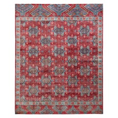 Rug & Kilim's Distressed Classic Style Rug in Red and Blue Geometric Pattern