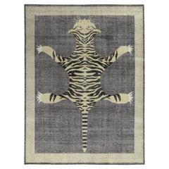Rug & Kilim's Distressed Custom Tiger Rug in Gray, Beige Black Pictorial Pattern