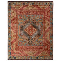 Rug & Kilim's Distressed Ghiordes Style Rug in Blue and Red Medallion Pattern