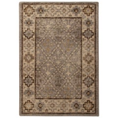 Rug & Kilim's Distressed Gift Sized Rug, Beige-Brown Geometric Design