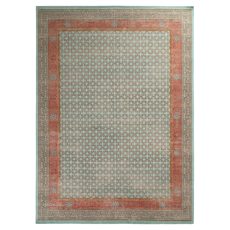 Rug & Kilim's Distressed Khotan Style Rug in Blue and Orange Geometric Pattern