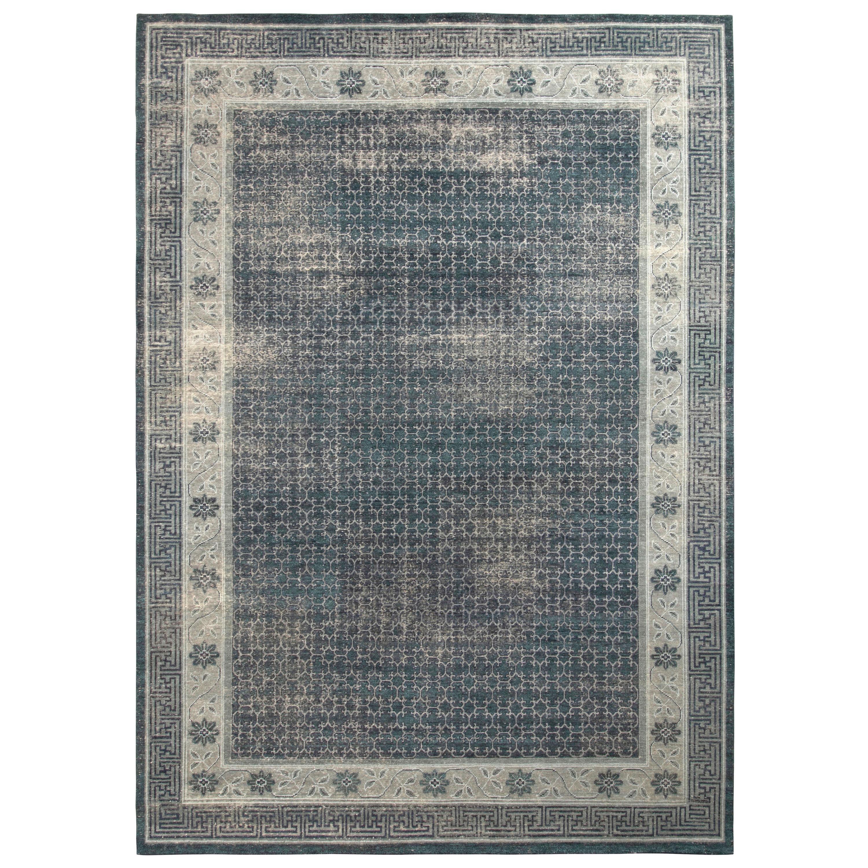 Rug & Kilim's Distressed Khotan Style Rug in Blue, Grey Geometric Pattern