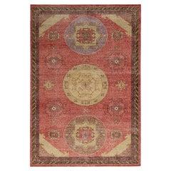 Rug & Kilim's Distressed Khotan Style Rug in Red, Beige-Brown Medallion Pattern