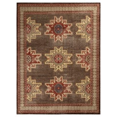 Rug & Kilim's Distressed Kuba Style Rug in Beige-Brown and Red Geometric Pattern