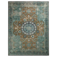 Rug & Kilim's Distressed Oriental Style Rug, Blue and Brown Medallion Pattern