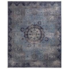 Rug & Kilim's Distressed Oriental Style Rug in Blue Gray Medallion Pattern