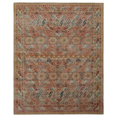 Rug & Kilim's Distressed Rug in Beige-Brown and Red Geometric Pattern