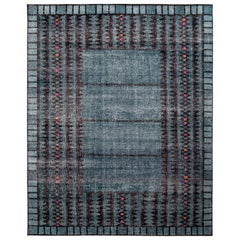 Rug & Kilim's Distressed Scandinavian Style Rug in Blue Geometric Pattern
