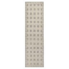 Rug & Kilim's Distressed Scandinavian Style Runner, Beige Grey Geometric Pattern