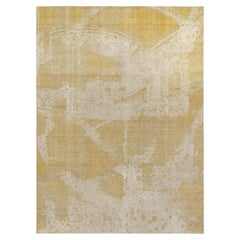 Rug & Kilim's Distressed Style Abstract Rug in Beige, Golden Abstract pattern