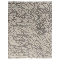 Rug & Kilim's Distressed Style Abstract Rug in Beige, Gray Geometric Pattern