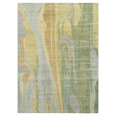 Rug & Kilim's Distressed Style Abstract Rug in Blue and Green Geometric Pattern