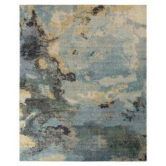 Rug & Kilim's Distressed Style Abstract Rug in Blue Multicolor All Over Pattern
