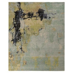 Rug & Kilim's Distressed Style Abstract Rug in Green Multicolor All Over Pattern