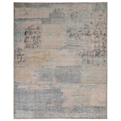 Rug & Kilim's Distressed Style Abstract Rug in Pink and Blue All-Over Pattern
