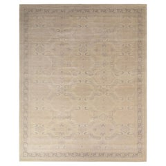 Rug & Kilim's Distressed Style Classic Rug in Beige-Brown Geometric Pattern