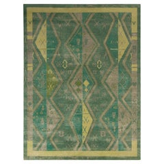 Rug & Kilim's Distressed Style Classic Rug in Green, Beige-Brown Geometric Patte