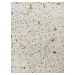 Rug & Kilim's Distressed Style Contemporary Rug in White, Beige Floral Pattern