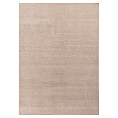 Rug & Kilim's Distressed Style Contemporary Rug, Pink and Beige Abstract Pattern