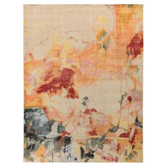 Rug & Kilim's Distressed Style Custom Rug in Beige, Multicolor Abstract Pattern
