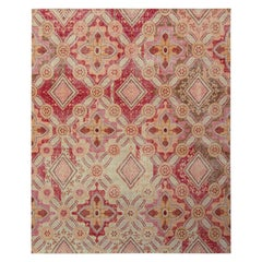 Rug & Kilim's Distressed Style Floral Rug in Red and Pink Classic Floral Pattern