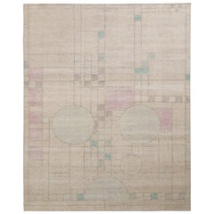 Rug & Kilim's Distressed Style Modern Rug in Beige All-Over Deco Pattern