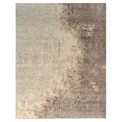 Rug & Kilim's Distressed Style Modern Rug in Beige-Brown Abstract Pattern