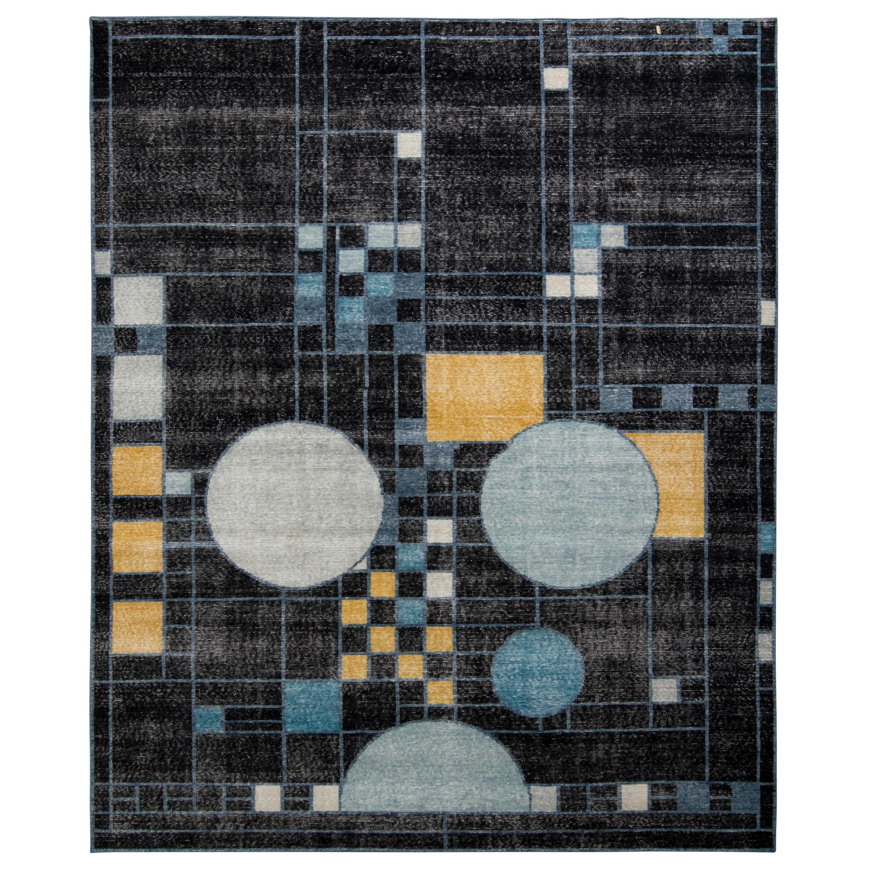 Rug & Kilim's Distressed Style Modern Rug in Black Blue Art Deco Pattern