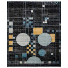 Rug & Kilim's Distressed Style Modern Rug in Black Blue Art Deco Pattern